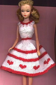 Knitted Barbie Valentines Hearts Dress Pattern