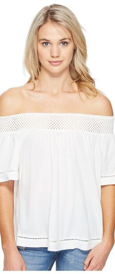 Roxy Hey Tonight Cold Shoulder Top (Marshmallow) Women's Clothing - Roxy, Hey Tonight Cold Shoulder Top, ERJKT03210-WBT0, Apparel Top General, Top, Top, Apparel, Clothes Clothing, Gift - Outfit Ideas And Street Style 2017