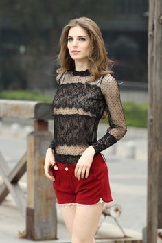 Stylish Mesh Top With Lace Panel..I wouldn't tuck it in.