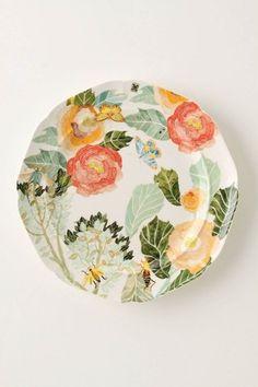 Anthropologie Watercolor Petals Dinner Plate