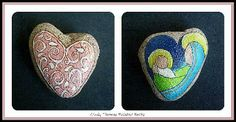 Heart of Christmas Mother and Child Reversible Nativity hand-painted on a heart-shaped rock by Cindy Thomas