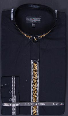 Men's Banded Collar Embroidered Shirt - Fancy Stitching Black | MensITALY  Price: US $65