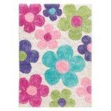 Dance Shaggy bunte Blumen auf weiss Kinderteppich arte espina 8105-10