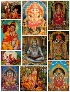 """""""A Collection of Hindu Gods""""  How do all of these Gods relate to one another? What are their stories? How have they impacted Hinduism?"""