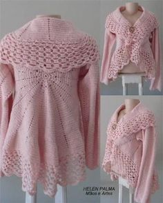 Crochet Coat Handmade Custom Product in Your Color Preference.my mom would love this oneSweater with wide collarNot a pattern. Pinning for color inspiration! Gilet Crochet, Crochet Cardigan Pattern, Crochet Jacket, Crochet Poncho, Knit Or Crochet, Crochet Patterns, Mode Crochet, Crochet Fashion, Crochet Clothes