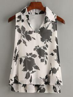 White+Flower+Print+Pointed+Collar+Chiffon+Top+8.99