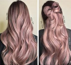 Colorly colorful colored long hair rose pink