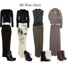 "<3 <3 <3 ""Fall Maxi Skirts"" by bucklebuttonzip on Polyvore"