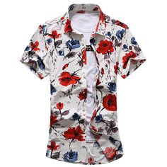ca87d739462 Plus Size Summer 2017 New Casual Brand Men s Shirts Floral Turn-down Neck  Short Sleeve Dress Shirts Men Slim Fit