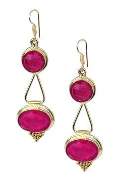 18K Gold Plated Ruby Quartz Lantern Earrings
