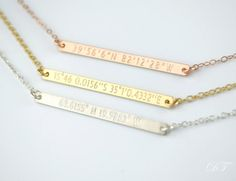 Where did you meet?? Custom coordinates necklace Bar Necklace by DaniqueJewelry on Etsy