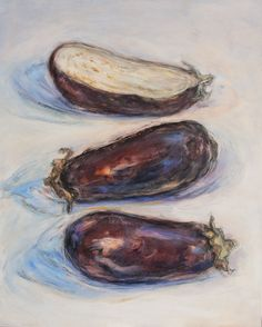 """JOANNE FOGLE's """"2-1/2 Eggplants"""" $275.00 original, oil and conte crayon on wood panel 16″ x 20″, unframed"""