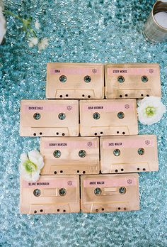 Brides.com: . Music lovers, take note: Cassettes may be obsolete, but when you paint them shimmering gold and add seating assignments, they become one cool escort card.