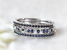 Trois anneaux demi-jonc saphir Set saphir demi-jonc Handcraft anneau Anneau Eternité demi anneau empilable