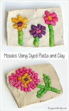 Mosaic Art Project for Kids using Colored Pasta and air dry clay: Perfect sensory craft for spring or Mother's Day and great for preschool, kindergarten and older ! ~ BuggyandBuddy.com