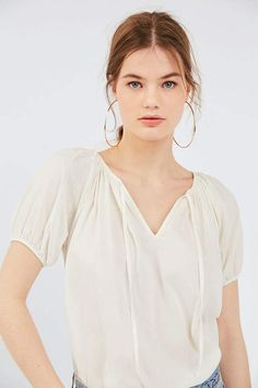 Shop UO Mia Tie-Front Peasant Tee at Urban Outfitters today. We carry all the latest styles, colors and brands for you to choose from right here. Casual Outfits For Moms, Mom Outfits, Mom Wardrobe, Cut Out Top, Vintage Jeans, Slow Fashion, Mom Style, Blouses For Women, Urban Outfitters