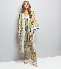 56ddb8c38b Yellow Sateen Floral Print Kimono Robe