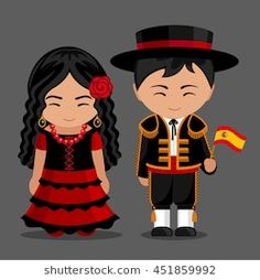 Spanish in national dress with a flag. Man and woman in traditional costume. Travel to Spain. Vector flat illustration: compre este vector en Shutterstock y encuentre otras imágenes.