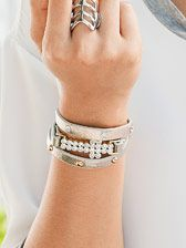 "Metallic Cross Wrap Bracelet, genuine crystal, 23"" adjustable, $32."