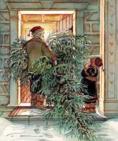 - this is what I remember about going to moms mothers house at Christmas....the men folk went out and cut a Christmas tree... Always cold and sometimes snowing. We all sat and waited impatiently. Mema had us stringing cranberries and popcorn. The tree was always perfect....when I was a child!