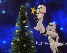 Star Wars Lego Navidad Stormtrooper fotografía descarga Digital. Arte de la pared. LEGO. Tarjeta de Navidad.
