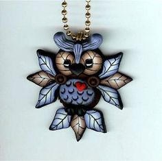 *POLYMER CLAY ~ Hooty Owl With Blue Feathers Necklace Polymer Clay Jewelry
