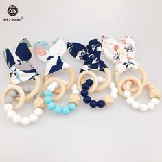 Cheap baby teether, Buy Quality baby teething directly from China baby teether teething Suppliers: Let's Make Baby Teething Wooden Ring 4pc Chew Silicone Beads Bunny Ear DIY Jewelry Car Seat Toy Nursing Accessories Baby Teether