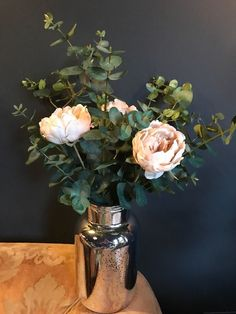 This gorgeous faux flower bouquet is made from 3 stems of eucalyptus and 3 dusky peach peonies. It has a romantic, wild look. Mixed Bouquet of Peach Peonies & Eucalyptus. The dimensions of the optional vase are 25.5 x 14cm. | eBay!