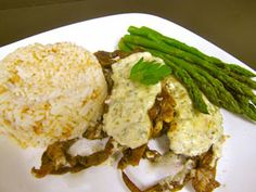 Sauteed Louisiana Soft-Shelled Crab, topped with a low fat Tarragon Caper Tartar Sauce, served with Steamed Asparagus and White Rice.