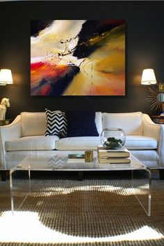 I love how the acrylic coffee table opens up the room! My Living Room, Home And Living, Living Room Decor, Living Room Inspiration, Interior Inspiration, Home Interior, Interior Design, My New Room, Home Decor Trends