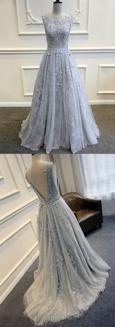 Lace Prom Dresses Long, 2018 Prom Dresses For Teens Cheap, Princess Evening Party Dresses Scoop Neck, Tulle Formal Pageant Dresses Backless Sashes / Ribbons Modest