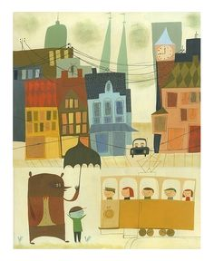 "Love the title: ""Rupert and Leonard wait for the tram on their Swedish holiday"" print by Matte Stephens"