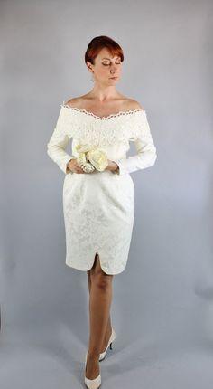 Vintage 80s Cream Venetian Lace Scott McClintock Brocade Long Sleeved Short Wedding Dress // Courthouse Wedding // Alternative Bridal