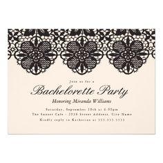 Elegant Black Lace Bachelorette Party Invitation