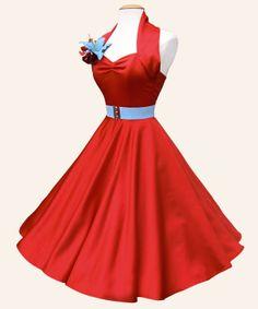 50s Halterneck Dress in Red Duchess Satin | Vivien of Holloway