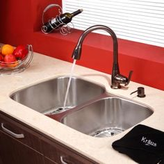 Kraus 32 Inch Undermount Double Bowl Stainless Steel Kitchen Sink With Oil  Rubbed Bronze Kitchen Faucet And Soap Dispenser