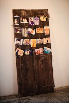 rustic reclaimed wood door with vintage family and wedding photos