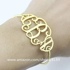 Personalized Sterling Silver Monogram Initials Name Custom Bracelet (7.5 Inches)