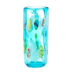 "9.6"" Impressionist Blue Glass Floral Decorative Accent Art Vase Modern Decor"