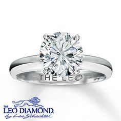 This memorable 2 carat round Leo Diamond is beautifully displayed in a platinum prong setting. The band is fashioned in high-polish 14K white gold. This fine jewelry ring features a diamond that is independently certified and laser-inscribed with a unique Gemscribe® serial number.