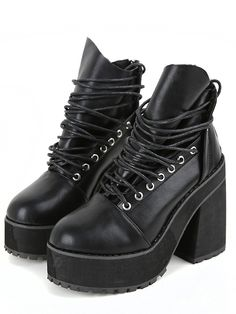 Black Lace Up Zipper Chunky Boots 38.80