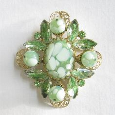Vintage Green and White Art Glass and Green Rhinestones Filigree Brooch by MyVintageJewels