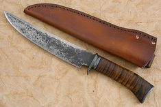 Hand-forged Bowie Knife with Curly Maple and Cowhide sheath