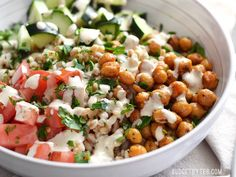 This Mediterranean Farro Salad with Spiced Chickpeas is packed with flavor, texture, and nutrients (and no animal products!). Step by step photos.