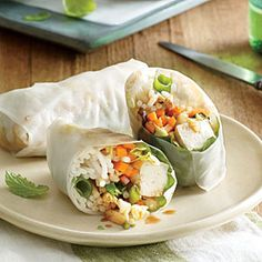 Basil Summer Rolls with Peanut Dipping Sauce | Cooking Light #myplate #veggies
