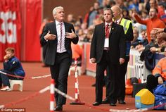 The Potters boss vents his frustration as he heads to the stands during the 4-0 defeat