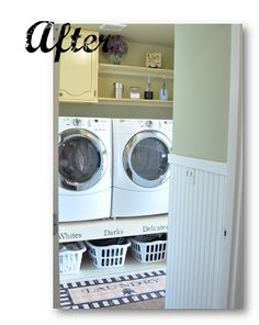 >Recently Emily from Finding My Aloha sent me an email about her finished laundry room. She was already planning on building a riser for her front loaders but found inspiration in my laund…