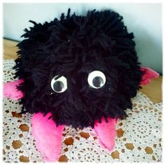 My sister's home-made golly-wog pom pom toy who hung about for years without any limbs until they were finally attached to him! Sister Home, Mug Shots, Toy, Homemade, Halloween, How To Make, Home Made, Clearance Toys, Toys