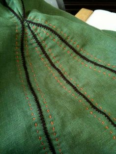 "tunic stitch detail. ""Guarded"" seams, this is how I like to do hand sewn seams, especially if they need to be sturdy."