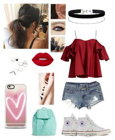 """Cute First day of school"" by lol22-2000 ❤ liked on Polyvore featuring Anna October, American Eagle Outfitters, Converse, Lime Crime, Miss Selfridge, Casetify and Vera Bradley"